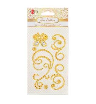 """Візерунок-аплікація зі страз Santi із клейким шаром """"Butterfly"""", колір жовтий, 10 х 6 см."""