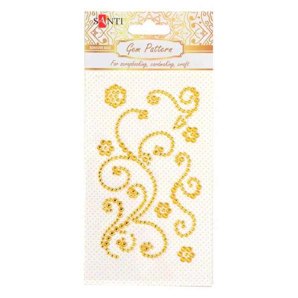 """Візерунок-аплікація зі страз Santi із клейким шаром""""Fine swirls"""", колір жовтий, 10х6см."""