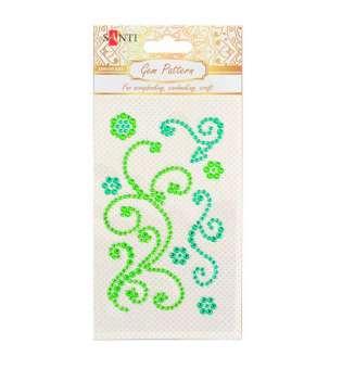 """Візерунок-аплікація зі страз Santi із клейким шаром """"Fine swirls"""", колір зелений, 10х6см."""