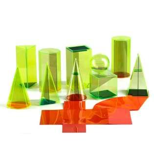 Набір моделей геометричних тіл з розгорткою 10 шт, 15 см, пластик