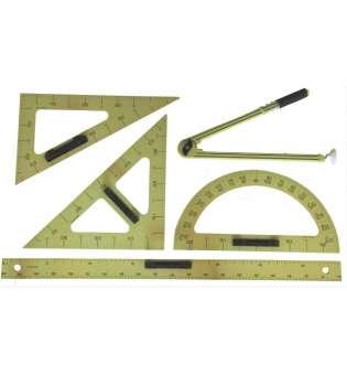 Демонстраційний комплект вимірювальних приладів (лінійка 1м, 2 трикутники, циркуль, транспортир)