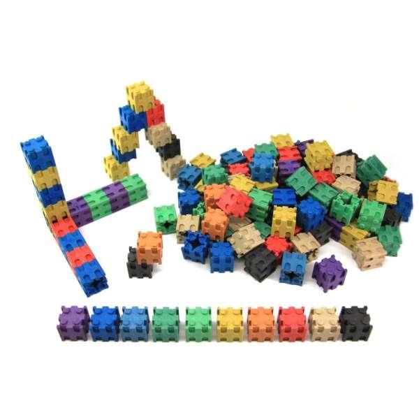 Кубики з різними способами з'єднання, 100 шт, 2x2x2 см, 10 кольорів, дерево