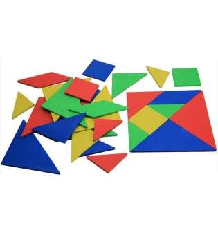Набір танграм, 10х10см, 4 кольори, 28 частини, пластик, в поліетиленовому пакеті